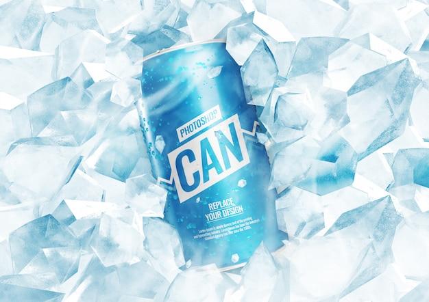 Сода может макет с кубиками льда Premium Psd
