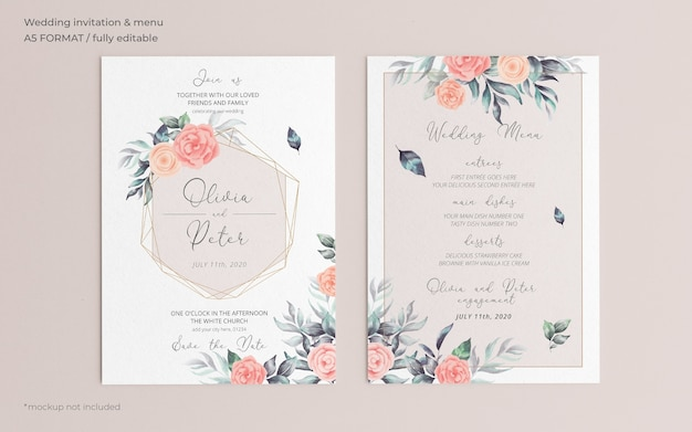 Soft floral wedding invitation and menu template Free Psd