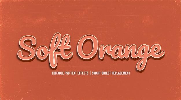 Soft orange  3d text style effect Premium Psd