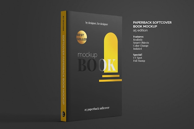 Softcover paperback book mockup top view Premium Psd