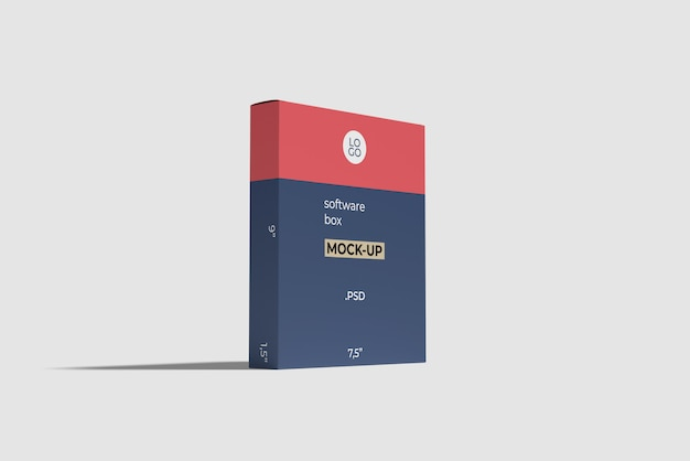 Software box mockup side angle view Premium Psd