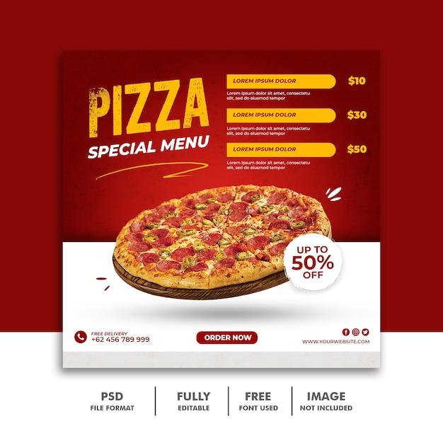 Шаблон квадратного баннера solcial media post для ресторана fastfood delicious pizza Premium Psd