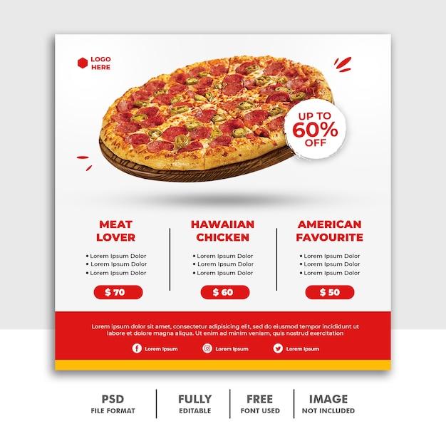 レストランファーストフードおいしいピザのためのソーシャルメディアポストスクエアバナーテンプレート Premium Psd