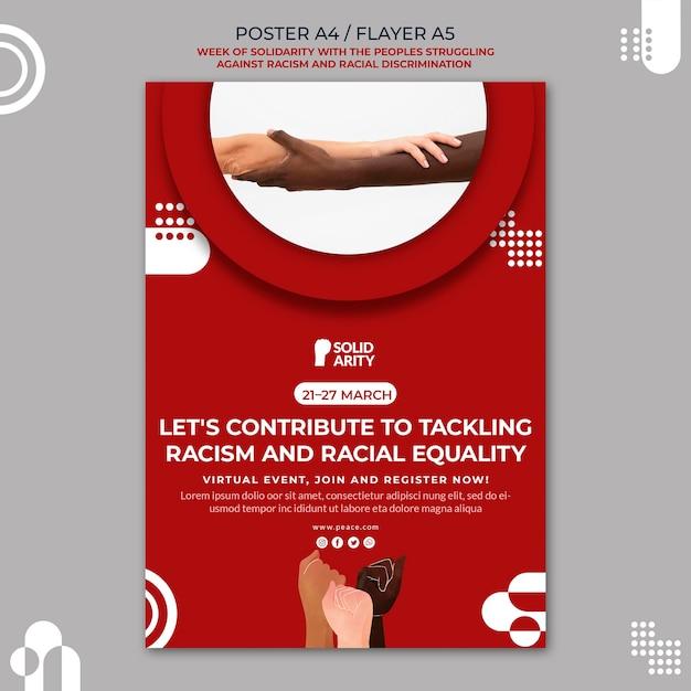 인종 차별 포스터로 고군분투하는 사람들을위한 연대 무료 PSD 파일