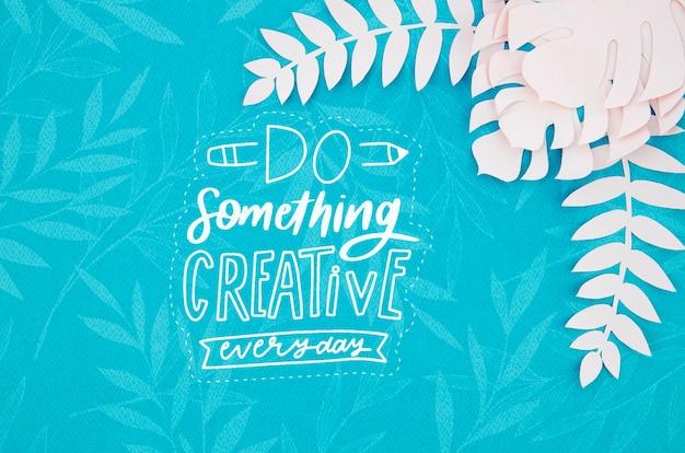 Do something creative paper plants background Premium Psd