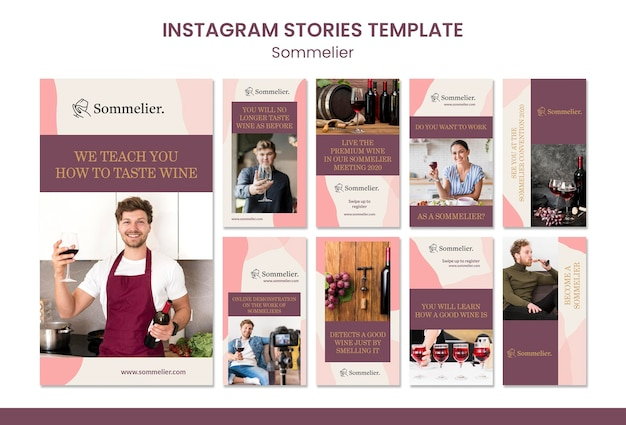 소믈리에 광고 Instagram 스토리 템플릿 프리미엄 PSD 파일