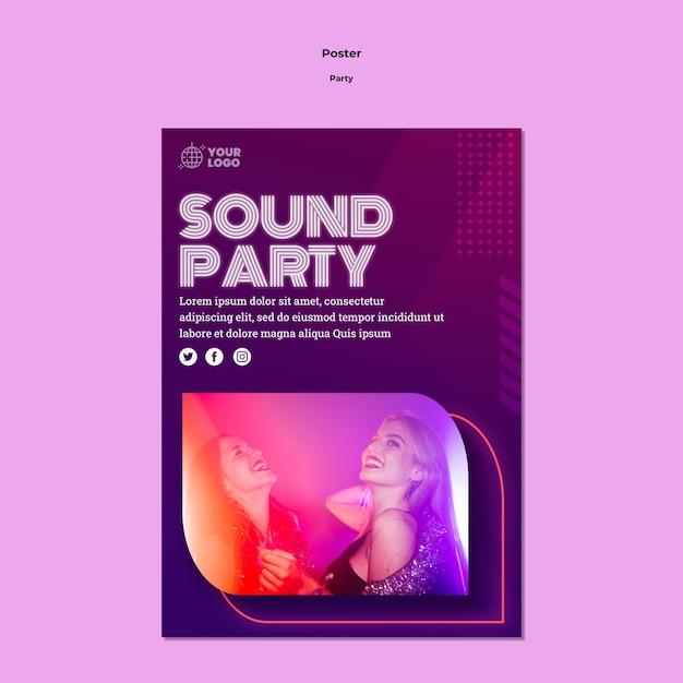 사운드 파티 포스터 템플릿 무료 PSD 파일