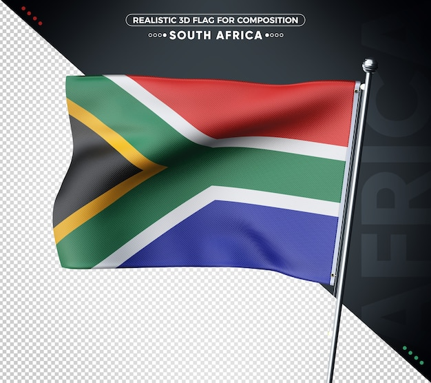 South africa 3d flag with realistic texture Premium Psd