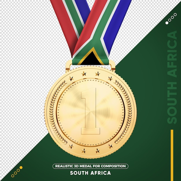 South africa gold medal for composition Premium Psd