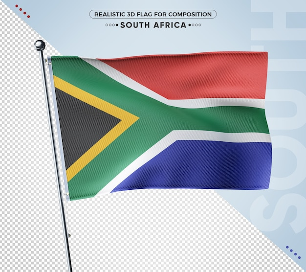 South africa realistic 3d textured flag for composition Premium Psd