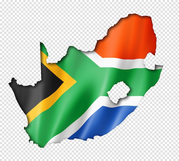 South african flag map Premium Psd