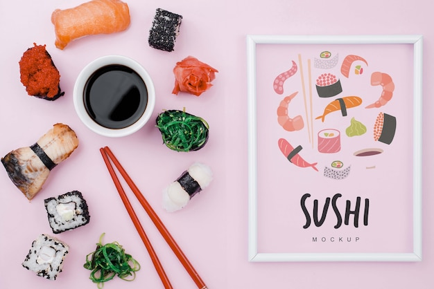 Soya sauce and sushi rolls Free Psd