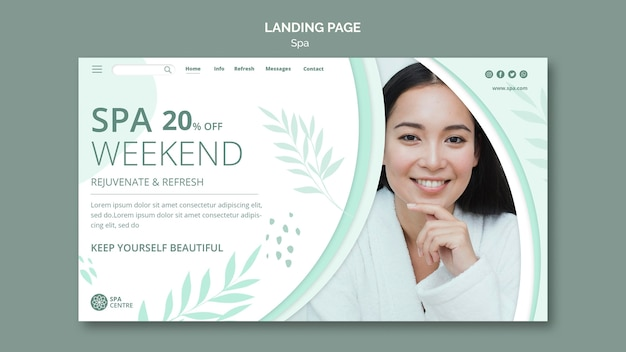 Spa concept landing page template Free Psd