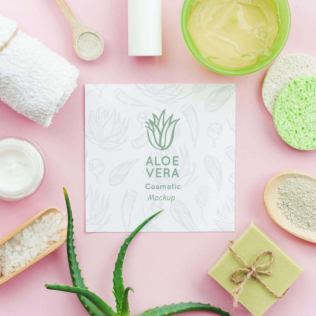 Spa mock-up surrounded by aloe vera products Free Psd