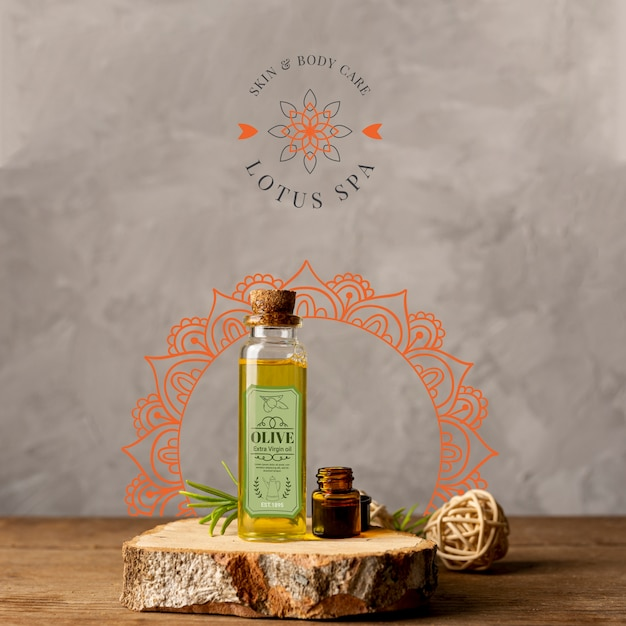 Spa natural products on wood mock-up Free Psd