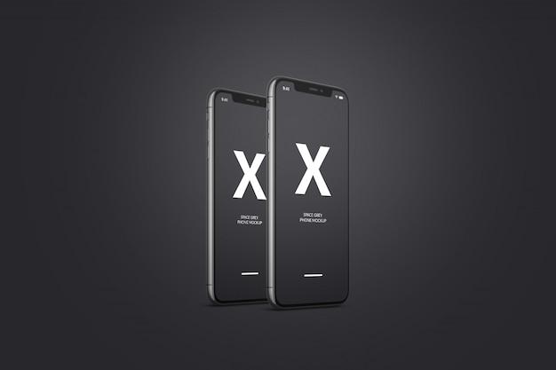 Космический серый мобильный телефон макет Premium Psd
