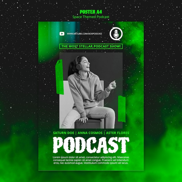 Space themed podcast template for poster Free Psd