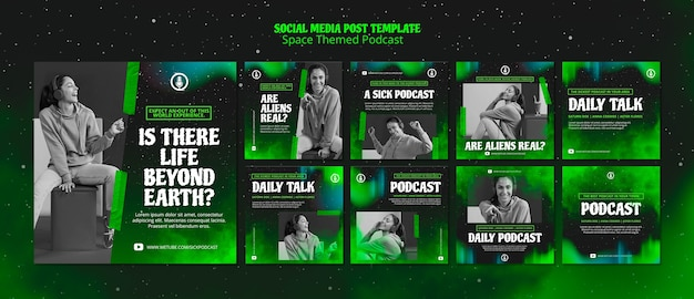 Space themed podcast template for social media post Free Psd