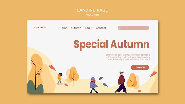 Special autumn landing page template Free Psd