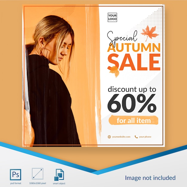 Special autumn sale social media post template Premium Psd