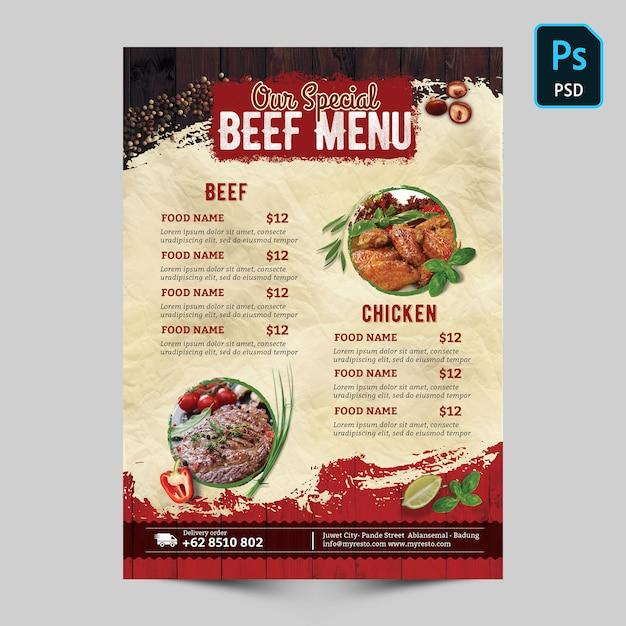 Special beef menu Premium Psd