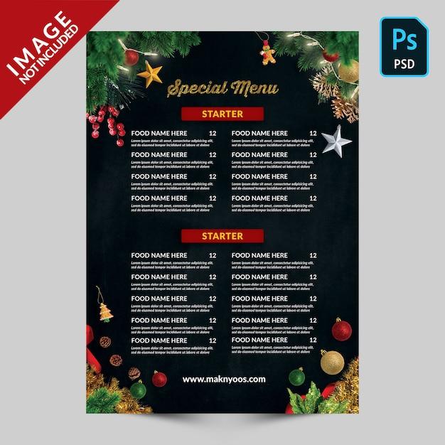 Special christmas  book menu back side Premium Psd