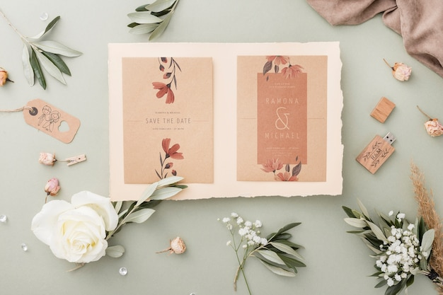 Special composition of wedding elements with invitation mock-up Free Psd
