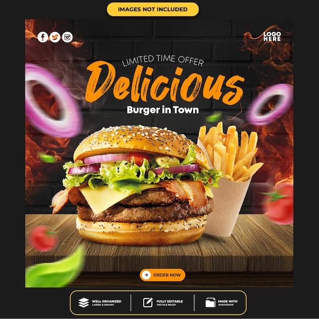 Special delicious burger social media post Premium Psd