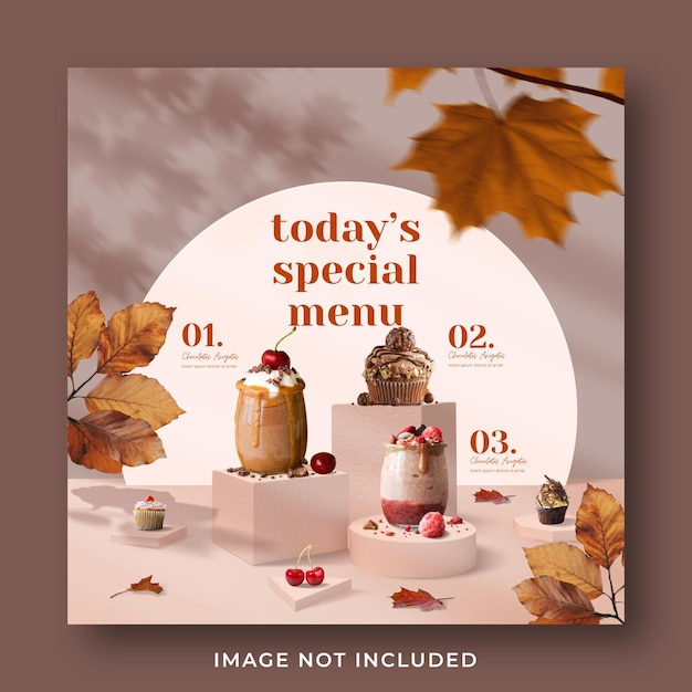 Special drink menu promotion social media instagram post banner template Premium Psd