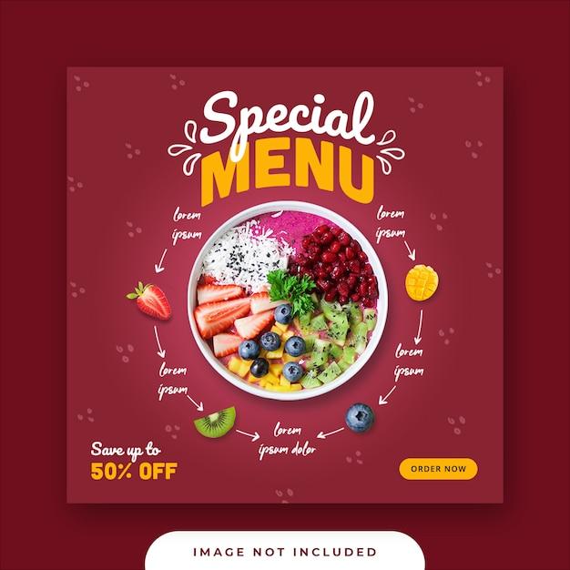 Специальное меню для еды в социальных сетях Premium Psd