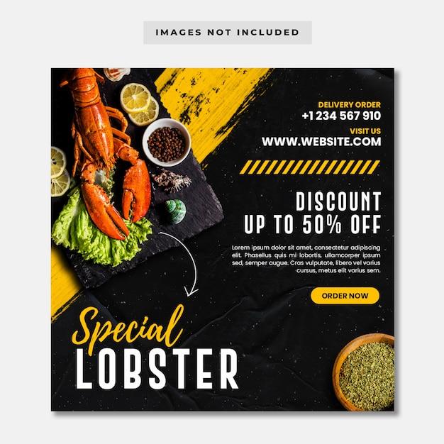 Special lobster social media instagram post banner template Premium Psd