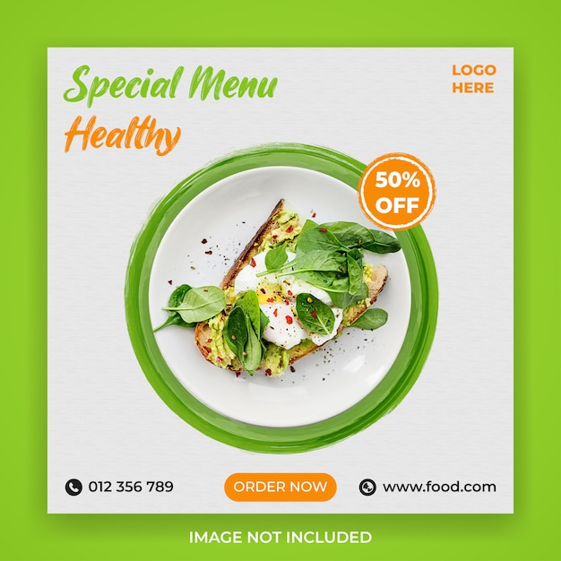 Special menu health food social media post Premium Psd