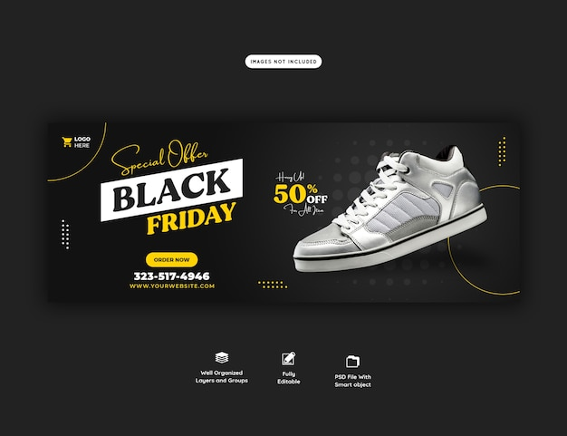 Special offer black friday facebook cover banner template Free Psd