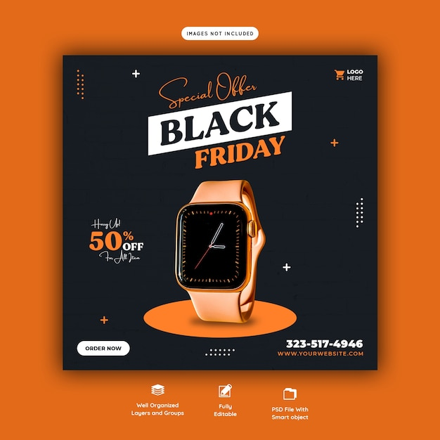 Special offer black friday social media banner template Free Psd