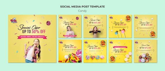 Special offer candy shop social media post Free Psd