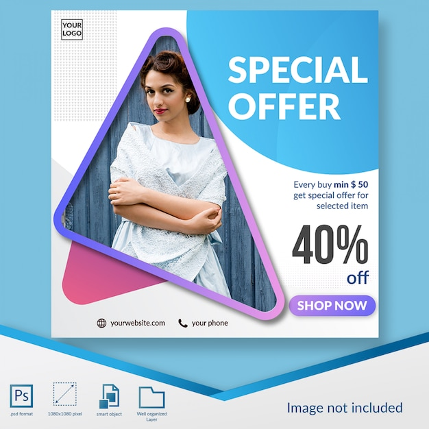 Special offer fashion discount offer social media banner template Premium Psd