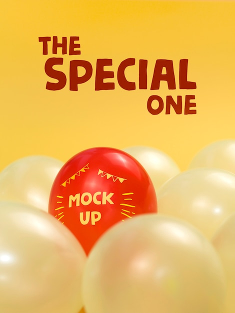 The special one red balloon mock-up Free Psd
