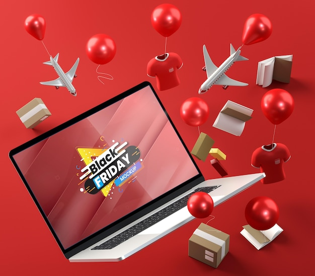 Special tech promotions and balloons red background Free Psd