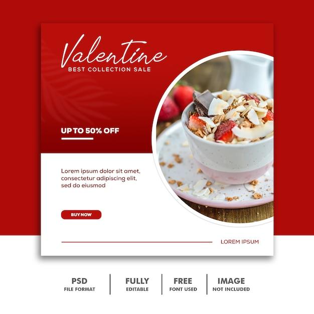 Special valentine menu for instagram stories Premium Psd