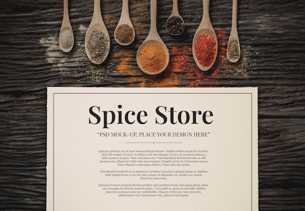 Spice & herbs with paper mockup template Premium Psd