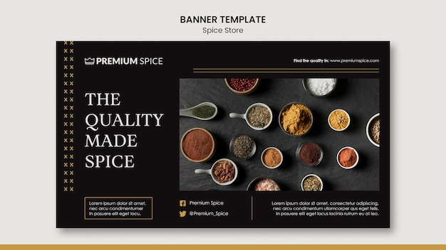 Spice store concept banner template Free Psd