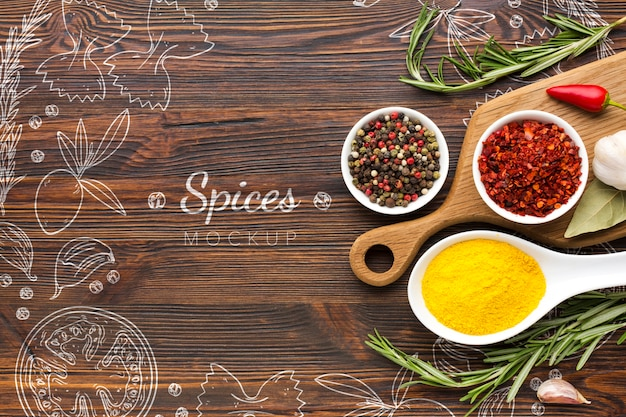 Spices doodles surrounded by spices and herbs Free Psd