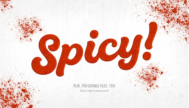 Spicy! 3d text style mockup Premium Psd