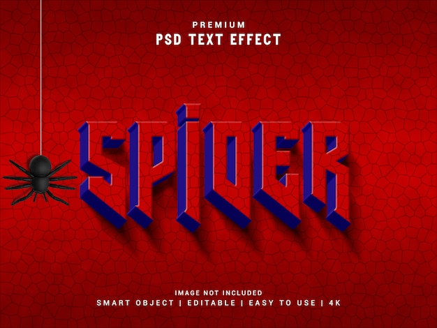 Spider text effect, 3d реалистичный макет Premium Psd