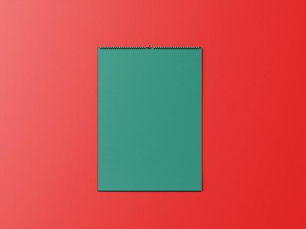 Спиральный макет календаря висит на стене Premium Psd
