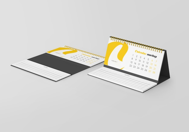 Spiral desk calendar with notes mockup isolated Premium Psd