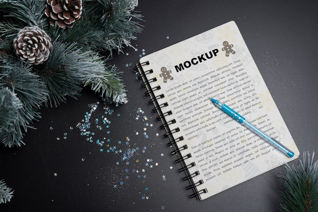 Spiral notebook mockup for christmas Free Psd