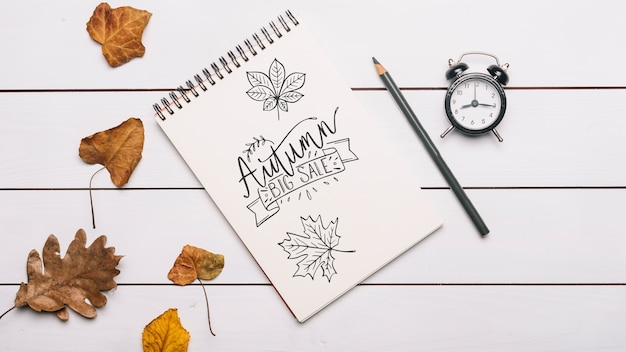 Spiral notepad mockup with halloween concept Free Psd
