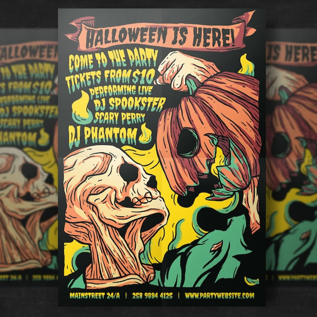 Spooky halloween party flyer template Premium Psd