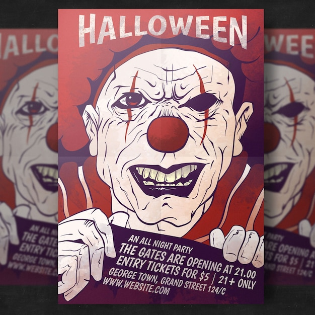 Spooky halloween party flyer template Free Psd